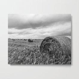 Nostalgia - Hay Bales in Kansas Field in Black and White Metal Print