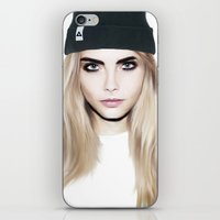 cara delevingne iPhone & iPod Skins featuring Cara Delevingne by HOLDBACK