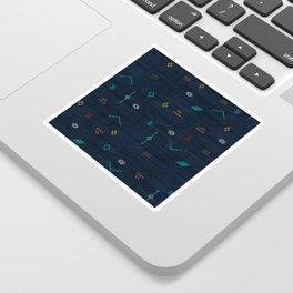 Cactus Silk Pattern in Navy Blue Sticker