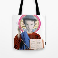 tom waits Tote Bags featuring Tom Waits by Hilal Can