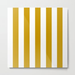 Vivid amber yellow - solid color - white vertical lines pattern Metal Print