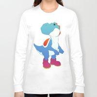 yoshi Long Sleeve T-shirts featuring Yoshi Blue by bloozen