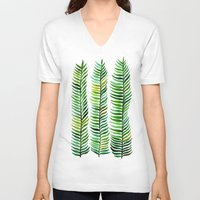floral V-neck T-shirts featuring Seaweed by Cat Coquillette