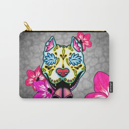 Slobbering Pit Bull - Day of the Dead Sugar Skull Pitbull Carry-All Pouch