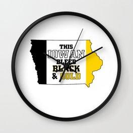 This Iowan Bleed Black & Gold Wall Clock