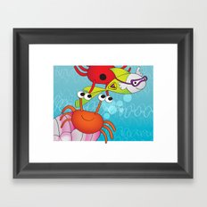 Playing with Crabs Framed Art Print