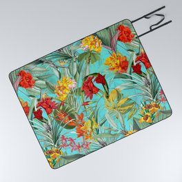 Vintage & Shabby Chic - Colorful Tropical Blue Garden Picnic Blanket
