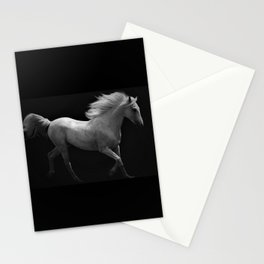 Ghost Riders in the Night - White Horse in Full Gallop black and white photography / photographs wal Stationery Cards
