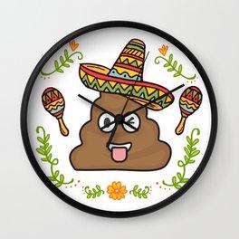 Emoji Poop Cinco De Mayo Funny Wall Clock