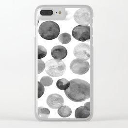Black and Silver Bubbles Clear iPhone Case