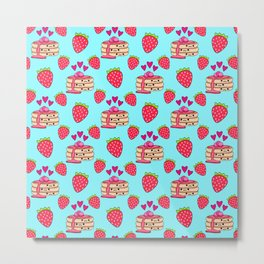 Cute funny sweet adorable yummy Kawaii pancakes with raspberry syrup, little pink hearts and red ripe summer strawberries cartoon light pastel baby blue pattern design Metal Print