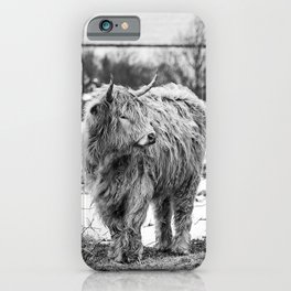 Highland Cow Black And White iPhone Case