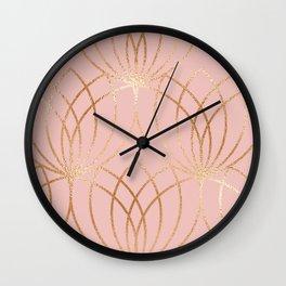 Rose gold millennial pink blooms Wall Clock