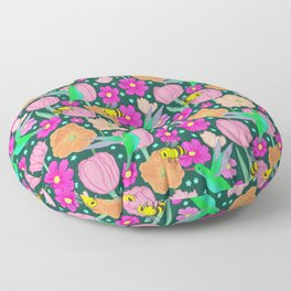 Hummingbirds and Bees Spring Pollinator Floral Floor Pillow