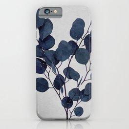 Eucalyptus Leaf Stem Botanical Navy Indigo Blue Watercolor Nature Farmhouse Painting Art Print Wall Decor iPhone Case