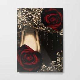 Rustic Glow Lantern & Dark Red Roses Metal Print