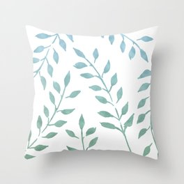 Blue and Green Fronds Throw Pillow