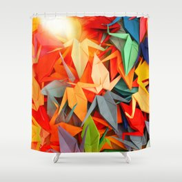 Senbazuru rainbow Shower Curtain