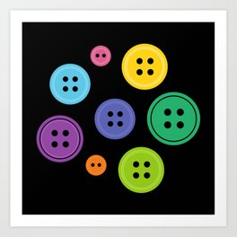 Colorful Rainbow Buttons Art Print