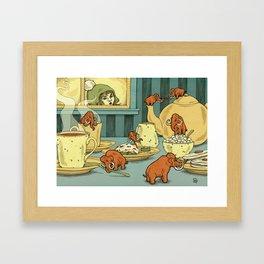 Tiny Mammoths In My Tea Framed Art Print