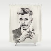 moustache Shower Curtains featuring Moustache by hectordanielvargas