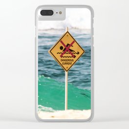 Danger. No Swimming Sign at Bronte Beach. Sydney Australia. Clear iPhone Case