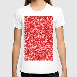 Watercolor Chinoiserie Block Floral Print in Ruby Red Porcelain Tiles T-shirt