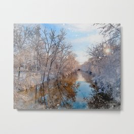 The Red Cedar River in Winter at Michigan State University Metal Print