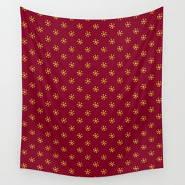 Electric Yellow on Burgundy Red Snowflakes Wall Tapestry