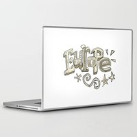 europe Laptop & iPad Skins featuring Europe Text by Dues Creatius