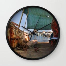Barca sul mare Ionio a Acitrezza  Wall Clock