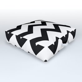 Simple Black and white Chevron pattern Outdoor Floor Cushion