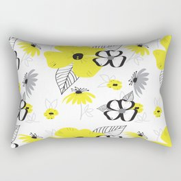 Yellow and Black Drawn Flowers Rectangular Pillow