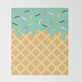 Mint Ice Cream with Sprinkles Throw Blanket