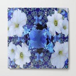 LONDON BLUE TOPAZ & WHITE PETUNIAS PATTERN Metal Print