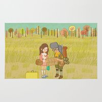 moonrise Area & Throw Rugs featuring 'Moonrise Kingdom' by Nicola Colton illustration