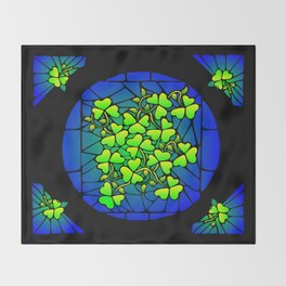 Stained Glass Shamrocks Throw Blanket