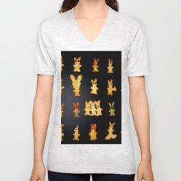 Decorated Bunny Cookies on Black Velvet T-shirt Unisex V-Neck