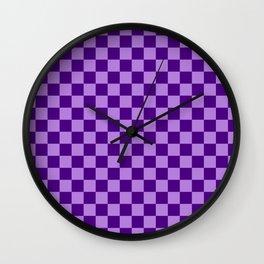 Lavender Violet and Indigo Violet Checkerboard Wall Clock