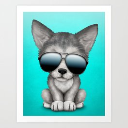 Cute Baby Wolf Cub Wearing Sunglasses Art Print