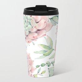 Pink Succulents by Nature Magick Metal Travel Mug