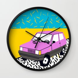 Amped - throwback 80s memphis vintage cars sunset socal california beach life Wall Clock
