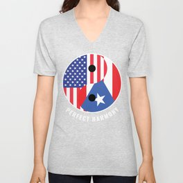 USA Puerto Rico Ying Yang Heritage for Proud Puerto Rican American, Biracial American Roots, Unisex V-Neck