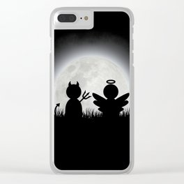 Angel and Devil Moon Meeting Clear iPhone Case