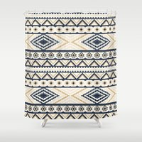 aztec Shower Curtains featuring AZTEC by Oksana Smith