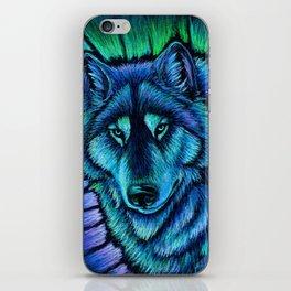 Blue Wolf Aurora Colorful Fantasy iPhone Skin