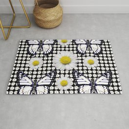 BLACK-WHITE DAISIES & MONARCH BUTTERFLIES ART Rug