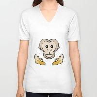 monkey V-neck T-shirts featuring Monkey by Nir P