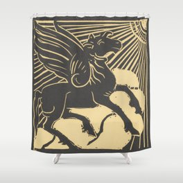 Winged horse - Henri Jonas, 1888 - 1931 (Enhanced) Shower Curtain