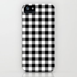 Gingham Check Pattern Black, White, Gray iPhone Case